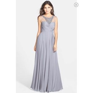 JS Collections Embellished Illusion Chiffon Gown